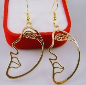 Jewelry - 3 for $15👗New Art Deco Face Gold Earrings